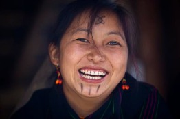 Portrait of Naga tribeswoman at Hornbill Festival.
