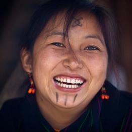 Portrait of Naga tribeswoman at Hornbill Festival.