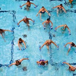 Water aerobics class at Gellert Baths.