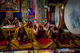 Morning prayers, Bhutan